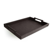 American Atelier Leather Serving Tray with Handles, 36cm by 48cm , Brown