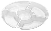 Fineline Settings Platter Pleasers Clear 30cm 5 Compartment Tray 24 Pieces