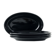 Tuxton Home Concentrix Oval Platter (Set of 4), 29cm , Black; Restaurant Grade Nonporous Virtrified China; Thermal Shock Tested