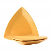 Tuxton Home Concentrix Triangle Platter (Set of 3), 32cm , Saffron Yellow; Restaurant Grade Nonporous Virtrified China; Thermal Shock Tested