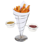 Creative Home Chrome Works French Fry Holder Set, Single Cone Holder with 2 Ceramic Ramekins, Silver