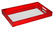 Cheung's Rattan FP-3843R Distressed Wooden Tray with Bevelled Mirror, Red