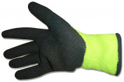 B & G Hi-Vis Yellow Lime Latex Dipped Knit Mechanic Work Gloves in Assorted Sizes