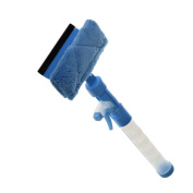 Squeegees, PeleusTech 3-In-1 Window Squeegee Washer Cleaner with Microfiber Scrubber Spray Bottle for Window Shower Floor Car Glass - Blue