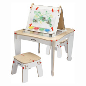 Best Selling Kids Toddlers Arts And Crafts Activity Table Learning Centre Set With Two Stool Seats- Beautiful Wood Table Chair Combo With Chalkboard, Easel Paint Storage Holders- Fun For Young Artists