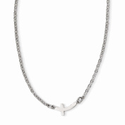 Stainless Steel Polished Sideways Cross 46cm Necklace