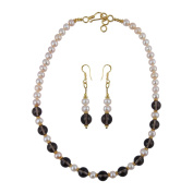 Pearlz Gallery Smoky Quartz and Freshwater Pearl 46cm Necklace Set for Women`