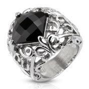 Decorative Fleur De Lis with Diamond Shaped Faceted Black Stone on Stainless Steel Cast Ring