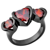 SKCUTE Fine Jewellery Lovely Heart Three Stone Ruby Black Gold Filled Rings