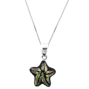 Sterling Silver 925 Yellow Star Dichroic Glass Pendant Necklace