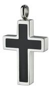 Perfect Memorials Ebony Cross Stainless Steel Cremation Jewellery