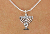 Detailed Silver Tone Menorah Charm & Necklace