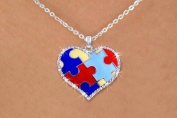 Autism Awareness Puzzle Piece Heart Necklace with Austrian Crystal Border