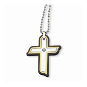 Best Birthday Gift Stainless Steel Black & Yellow IP-plated with CZ Cross Necklace