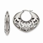 Jewellery Best Seller Stainless Steel 40mm Fancy Cutout Hoop Earrings