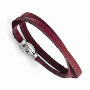 Best Birthday Gift Stainless Steel Polished Purple Leather Wrap Bracelet