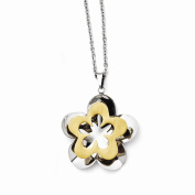 Jewellery Best Seller Stainless Steel Polished & Brushed Yellow IP-plated Flower Necklace