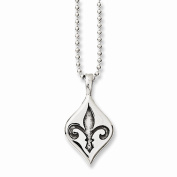 Best Birthday Gift Stainless Steel Antiqued & Polished Fleur de lis Necklace