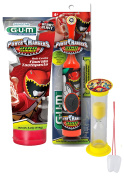 "Power Rangers ""Dino Charge"" 3pc Bright Smile Oral Hygiene Set! Turbo Powered Spin Toothbrush, Toothpaste & Brushing Timer! Plus Bonus ""Remember to Brush"" Visual Aid!"
