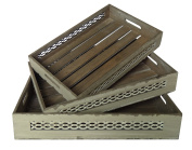 Cheung's Rattan FP-4188-3WT Wooden Trays with Wire Sides and Slatted Base, Set of 3, White