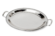 Classic Touch SDT884 Hammered Stainless Steel Oval Tray, Trimmed with Exquisite Diamonds