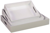Urban Trends 40209 Wood Tray with Hole Handles, Coated White, Set of 3