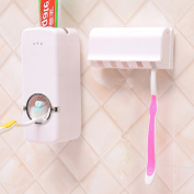 Wall Mounted Toothpaste Dispenser and Toothbrush Holder Set,Bathroom Organiser,Hands Free Automatic Toothpaste Squeezer and Dustproof Toothbrush Holder with Lid for Family Kids Shower Bathroom
