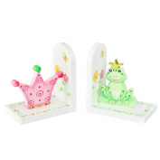 Fantasy Fields - Princess & Frog Kids Wooden Set of Bookends | Imagination Inspiring | Hand Crafted & Hand Painted Details | Child-Safe, Lead Free Water-based Paint