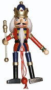 Nutcracker Ballet Wood Dancing Pull Puppet In Red and Blue With Crown