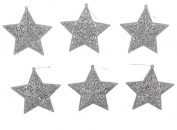 Christmas Holiday Silver Glitter 3D Star Ornaments - 13cm x 13cm x 3.8cm