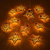 2M/6.5Ft 20 Star Shaped Golden Metal Hollow Xmas Wedding Battery Operated String Fairy Light
