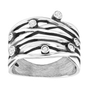Van Kempen Art Nouveau Band Ring with Crystals in Sterling Silver