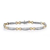 1.50 Carat Diamond X-Shaped Link 14K Two Tone Gold Bracelet
