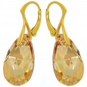 """Royal Crystals """"Made with Elements"""" 24k Gold Plated Sterling Silver Champagne Drop Leverback Earrings"""