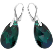 Sterling Silver Leverback Drop Earrings Made with Dark Green Crystals