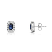 Noray Designs 14K White Gold Blue Sapphire and Diamond (1/4 Ct, G-H Colour, SI2-I1 Clarity) Emerald Shape Earrings