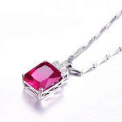 Bonlavie 7.85ct Women's Red Ruby July Birthstone Pendant 925 Sterling Silver Necklace with Chain 46cm