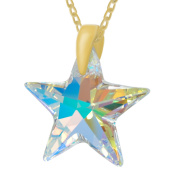 """Royal Crystals """"Made with Crystas"""" 24k Gold Plated Sterling Silver Aurora Borealis Star Pendant Necklace, 46cm"""