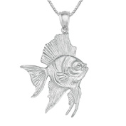 Sterling Silver ANGELFISH 3D Solid Pendant, Made in USA, 46cm Italian Box Chain