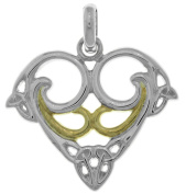 Jewellery Trends Sterling Silver and 14K Gold-Plated Celtic Trinity Heart Pendant