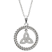 Sterling Silver Celtic Trinity Circle Pendant Adorned By Crystals - Made in Ireland