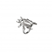 Sterling-Silver Rhodium Plated Beetle Ring size 6
