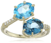 "Judith Ripka ""Flora"" Matching Oval Bypass Ring with Pave Band Diamond On Band and Oval Swiss Blue Topaz and London Blue Topaz Ring, Size 7"