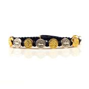 My Saint My Hero Benedictine Blessing Bracelet - Mixed Medals on Navy Cord