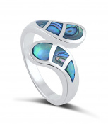 Sterling Silver Hand Cut Mosaic Abalone Shell Inlaid Ring -