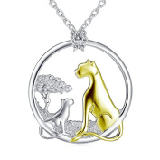 ASTRO 925 Sterling Silve Leopard Pendant Charm Animals and Nature in Harmony Necklace with Rolo Chain