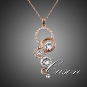 CS-DB Gold 18K Rose Gold Plated Necklace Crystal Fashion Chain Pendant Necklace