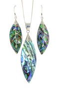 Sterling Silver Magnolia Leaf Abalone Shell Necklace Earrings Set