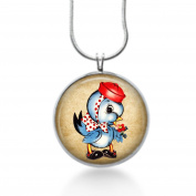 Vintage blue bird retro Necklace - Animal, Fun Jewellery - Handmade
