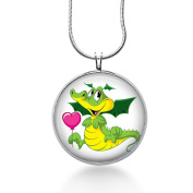 Cute Dragon Necklace, Fantasy Pendant, bling jewellery, Green animal